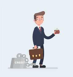 a business man is chained to his big heavy loan vector image vector image