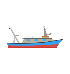 boat fishing fish sea ship marine flat icon vector image vector image