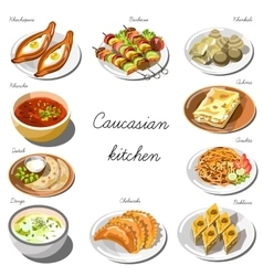 Caucasian cuisine set collection of food dishes vector