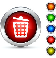 Dustbin button vector image