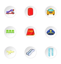 Flights icons set cartoon style vector