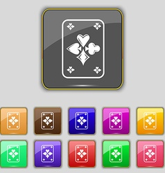 Game cards icon sign set with eleven colored vector