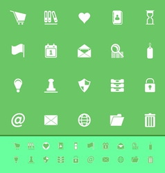 General folder color icons on green background vector