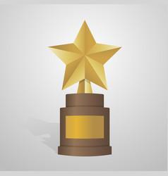golden star award on brown base gold trophy vector image vector image