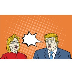 Hillary Clinton Versus Donald Trump Debate Pop Art vector image