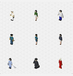 Isometric people set of male female officer and vector
