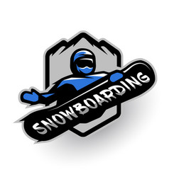 jumping snowboarder sport logo vector image vector image