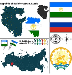 Map of Republic of Bashkortostan vector image vector image