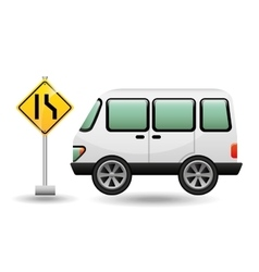 micro bus with narrows road vector image