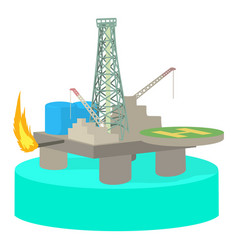 Oil platform icon cartoon style vector