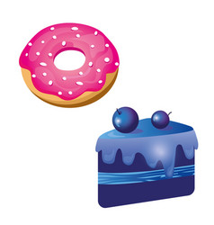 Pink donut and blue cake vector