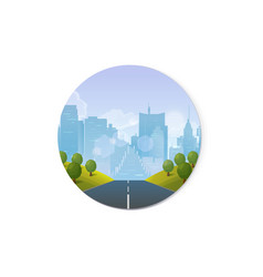 road through the countryside into the city vector image