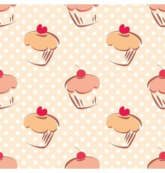 Seamless cupcake pattern on polka dots background vector