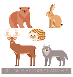 set of flat forest animals vector image vector image