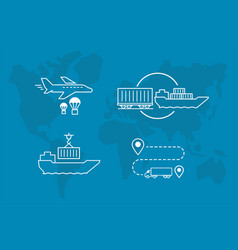 set of icons air railway and water freight vector image vector image