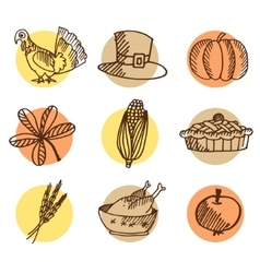 Set of thanksgiving hand drawn icons isolated vector image vector image