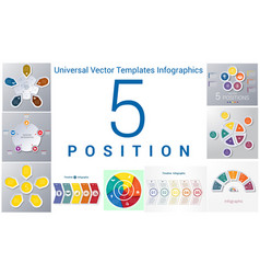 universal templates set infographics 5 positions vector image