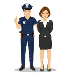 Policeman arresting businesswoman vector