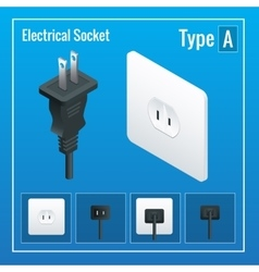Isometric switches and sockets set type a ac vector