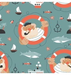 Seamless pattern with old sailorlifebuoyfish vector