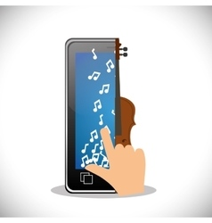 Hand touch phone note fiddle mobile music vector