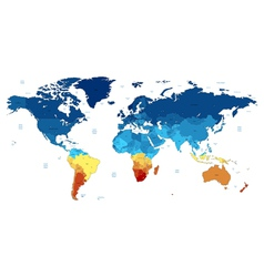 Blue and yellow detailed world map vector