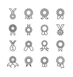 Rosette banner thin line icons award vector