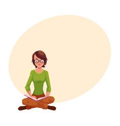 Girl woman in glasses sitting legs crossed vector