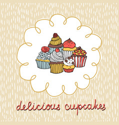 card with various cupcakes on a beige background vector image