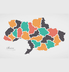 Ukraine map with states and modern round shapes vector