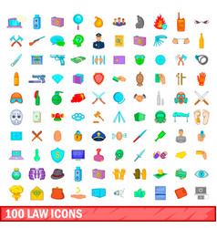 100 law icons set cartoon style vector