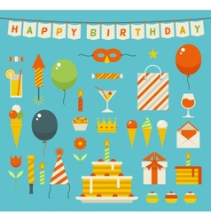 Birthday party flat icons vector