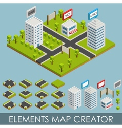 Isometric elements map creator vector