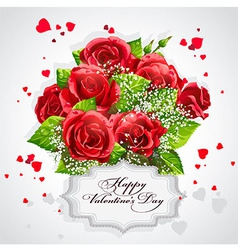 Card for valentines day heart of red roses vector