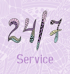 Hand drawn doodle service around the clock vector