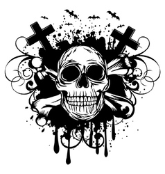 abstract background skull and crossed bones vector image