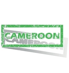Green outlined cameroon stamp vector