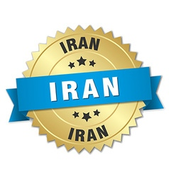 Iran round golden badge with blue ribbon vector