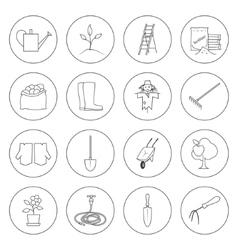 Thin Line Icons Gardening Equipment vector image
