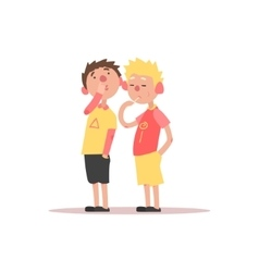 Two boys one picking the nose and another eating vector