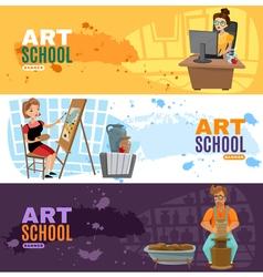 Art school banners set vector