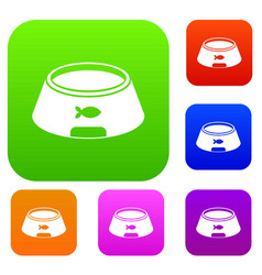 bowl for animal set color collection vector image vector image