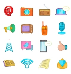 Communication icons set cartoon style vector image vector image