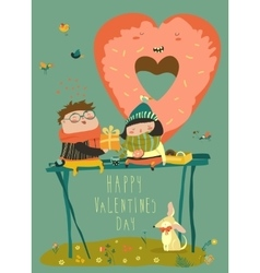 Couple in love celebrating valentines day vector