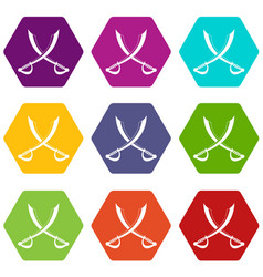 crossed sabers icon set color hexahedron vector image