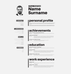 cv resume template with nice typography royalty free vector