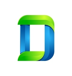 D letter leaves eco logo volume icon vector