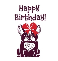 Dog present greeting card happy birthday vector