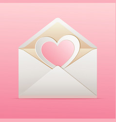 Envelope with paper heart inside vector image