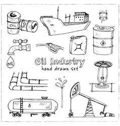Factory oil industry hand drawn set vector